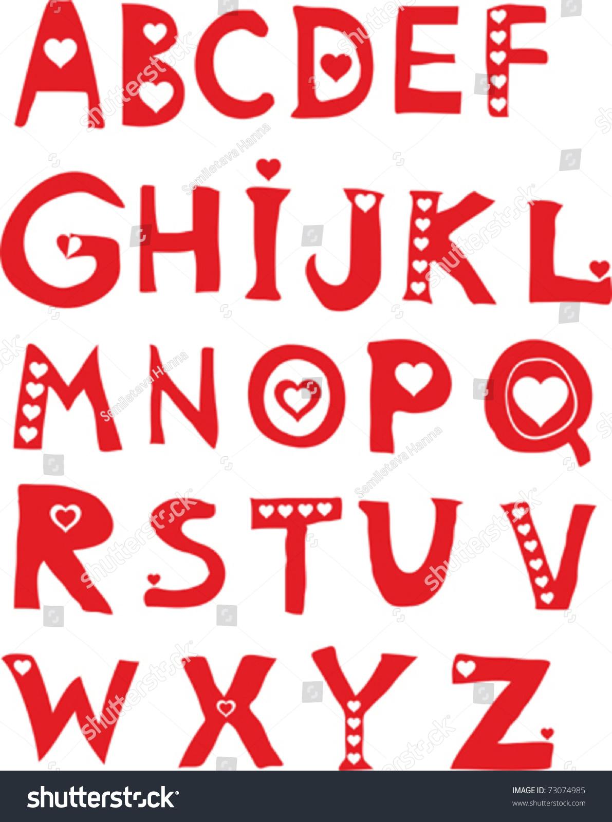 Decorative Letters Decorative Letters Hearts Love Alphabet Stock Vector 73074985