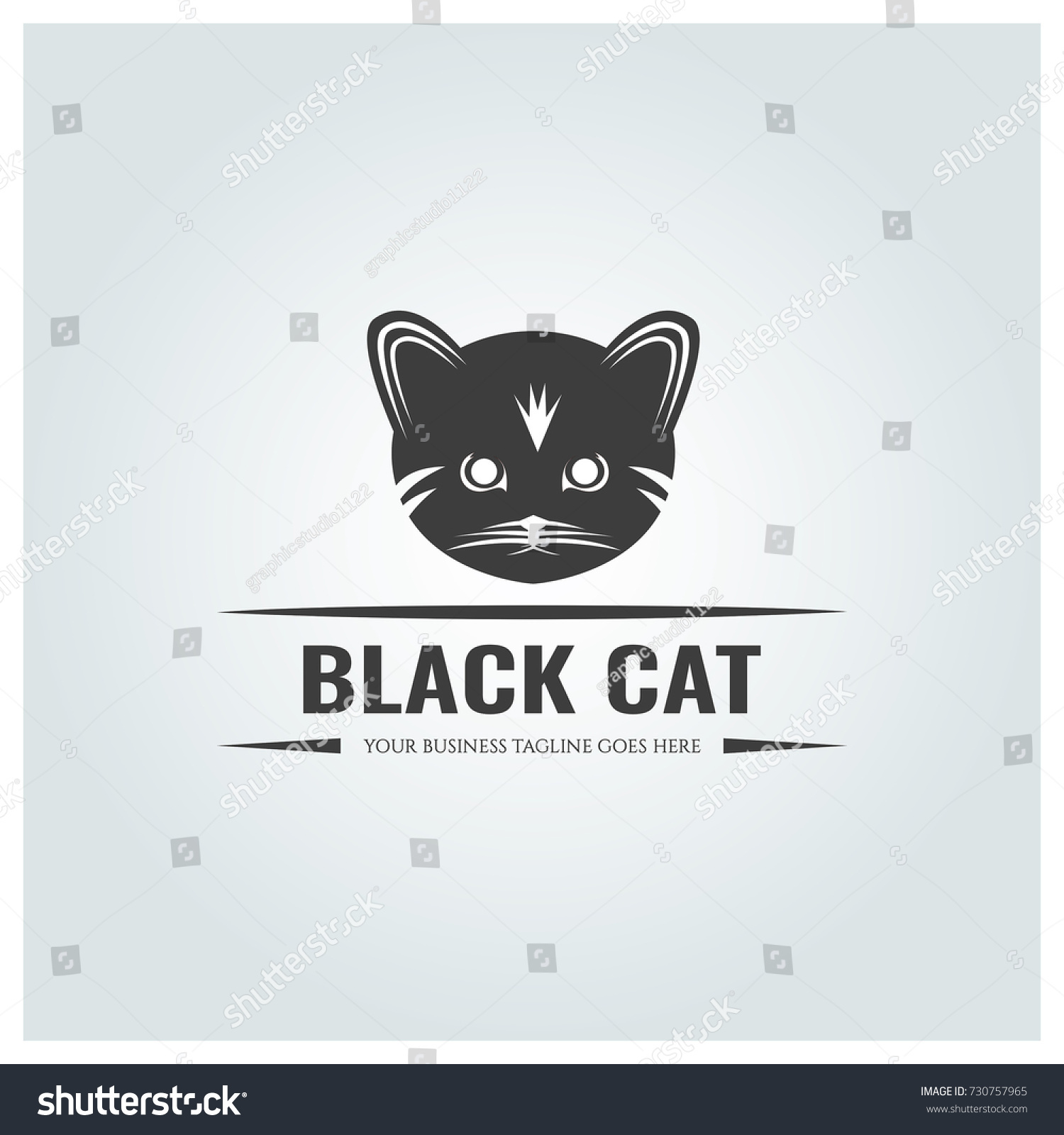 Black Cat Logo Design Template Vector Stock Vector 730757965