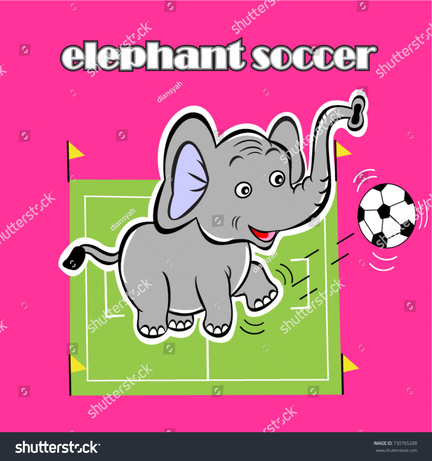 Vector Cartoon Happy Funny Elephant Soccer Stock Vector 730765288 ...