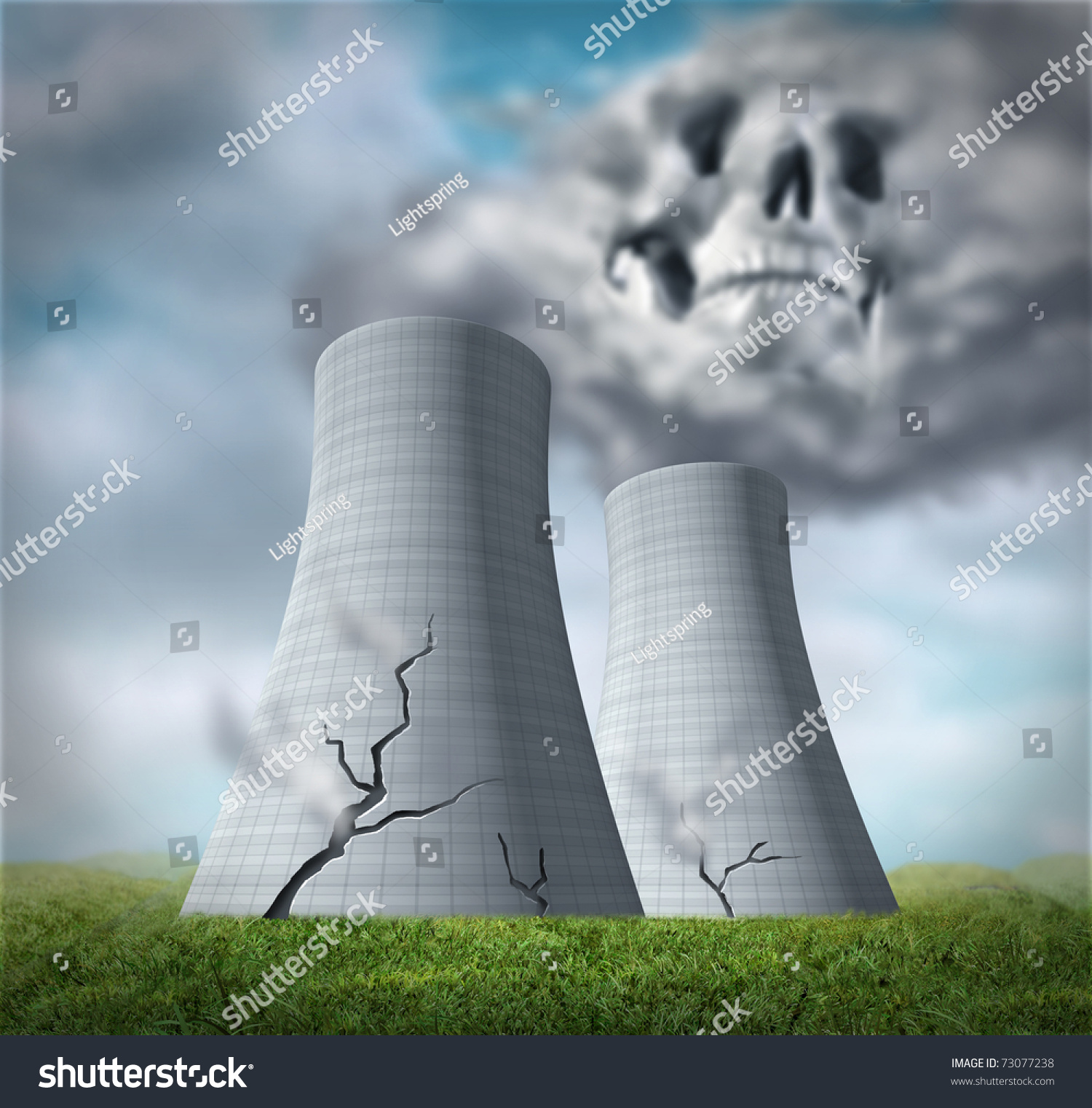 Nuclear Reactor Meltdown Disaster Symbol Represented Stock
