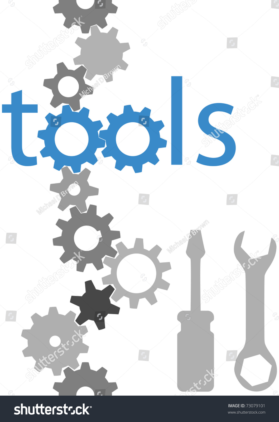 Set Of Technology Tool Icons Symbols And Border Gears ...