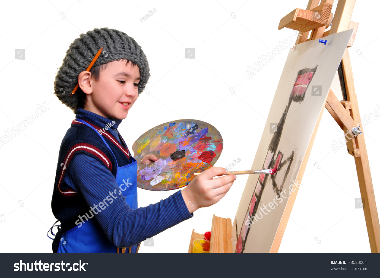 artist school boy painting brush watercolors stock photo 73080004