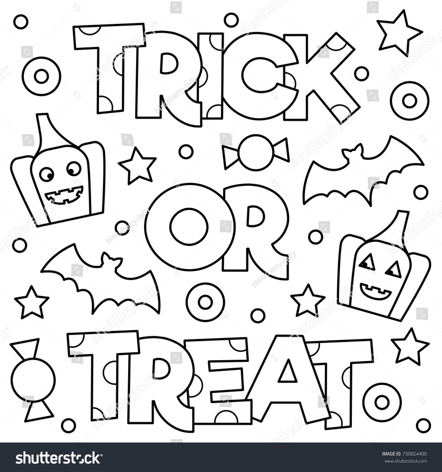 Trick Treat Coloring Page Vector Illustration Stock Vector 730824400 ...