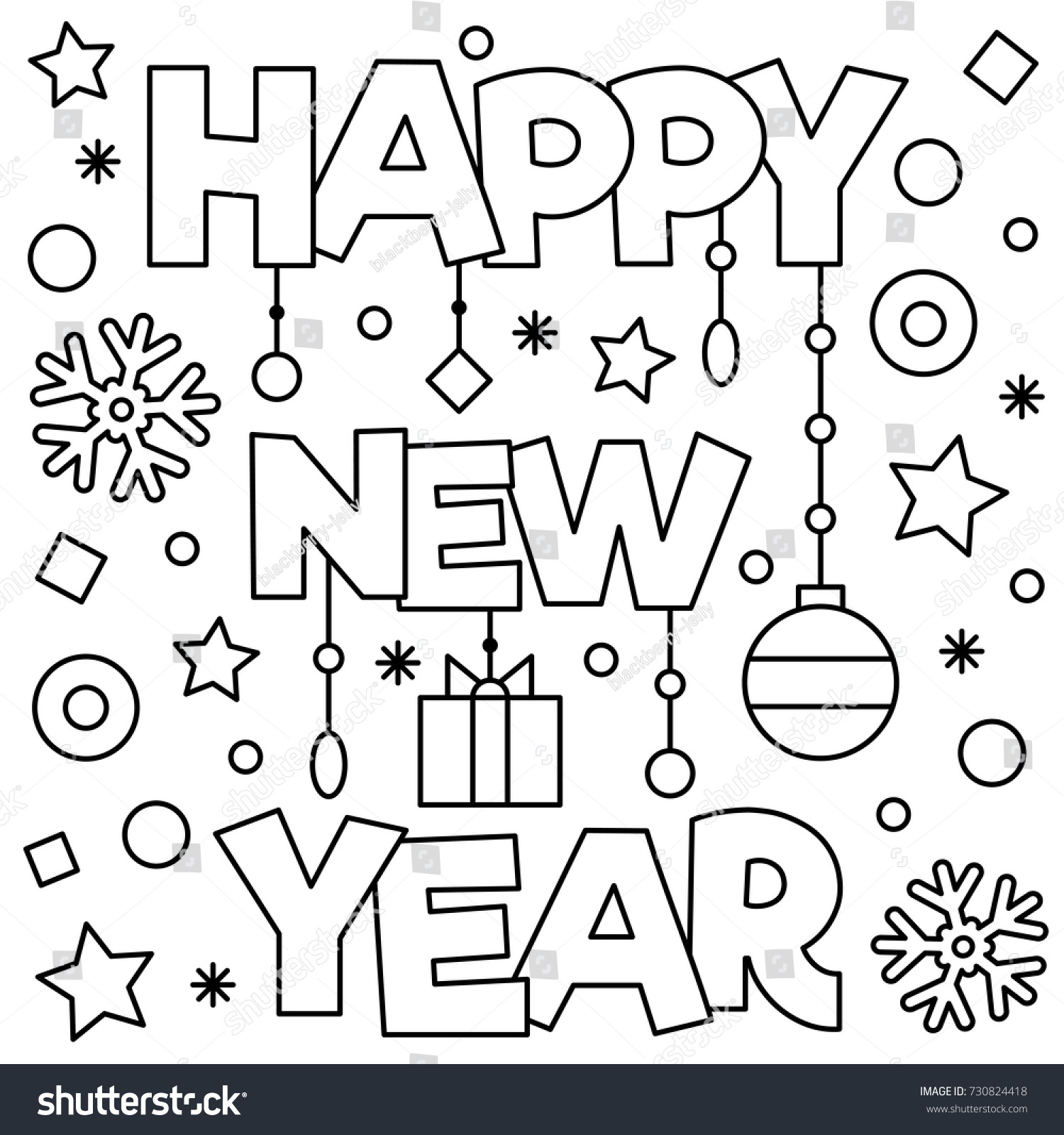 Happy New Year Coloring Page Vector Stock Vector 730824418