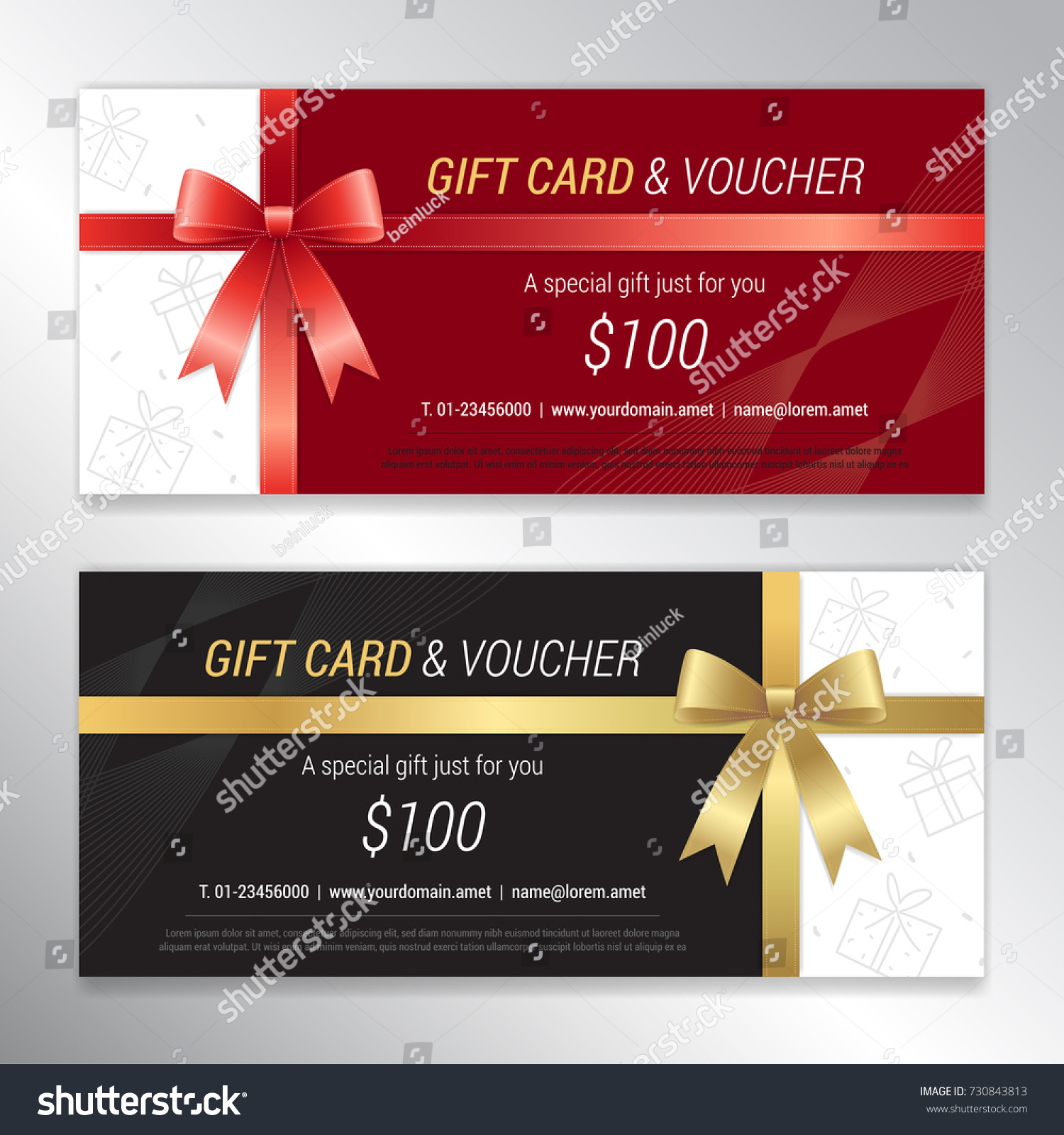 Gift voucher certificate discount card template stock vector gift voucher certificate discount card template stock vector 730843813 shutterstock yadclub Images