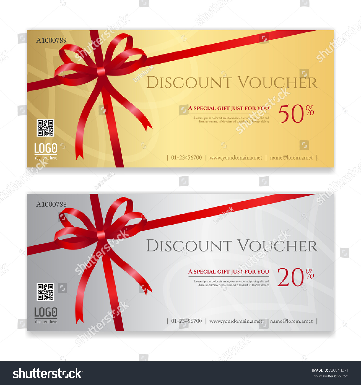 Gift Voucher Certificate Discount Card Template Stock Vector