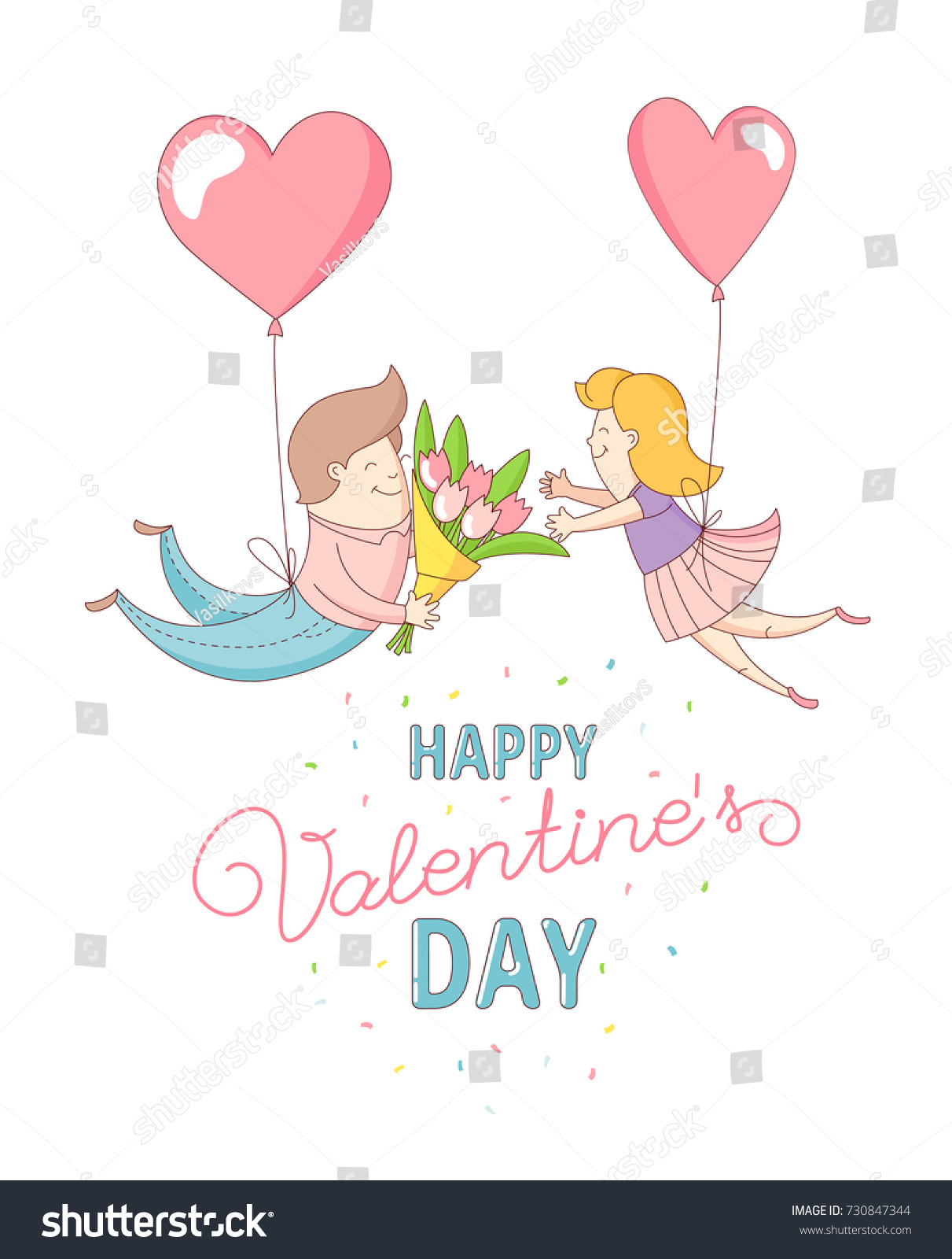 Happy valentines day party greeting card stock illustration happy valentines day party greeting card invitation funny female girl and male boy characters flying into kristyandbryce Gallery