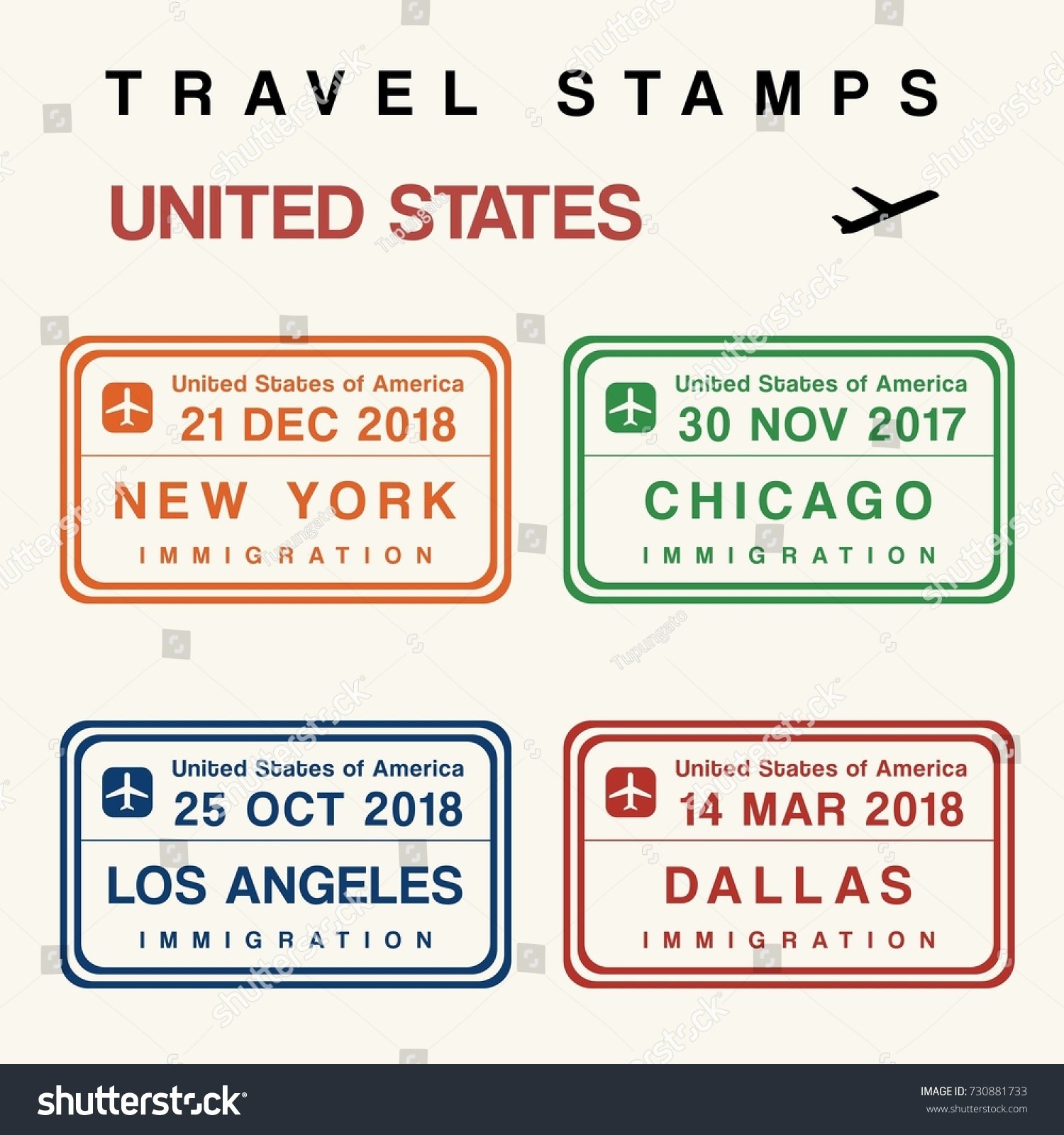 Travel Vector Passport Stamps Set Fictitious Stock Royalty