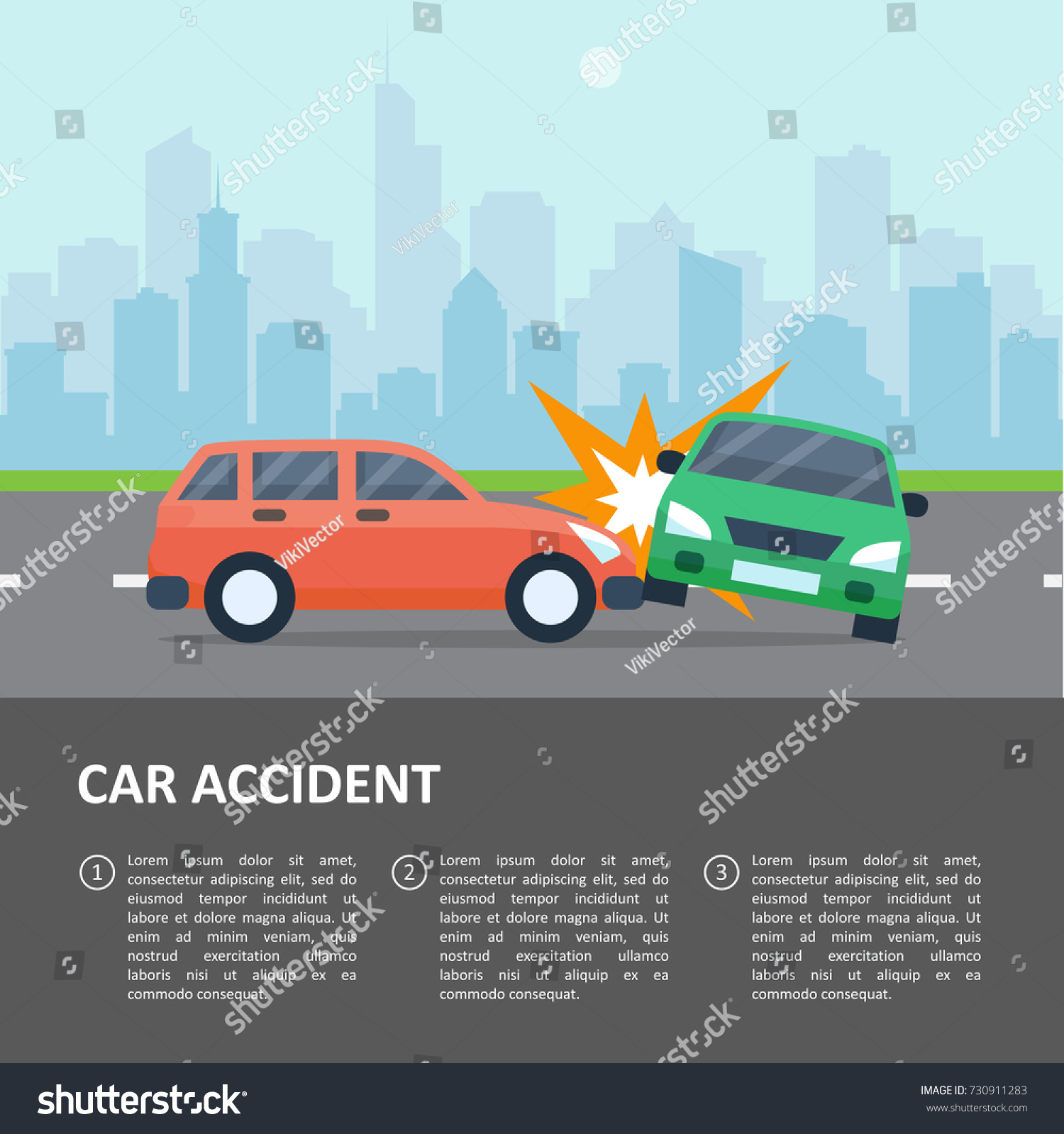 Car Accident Template Street Crash Vehicle Stock Vector HD (Royalty ...