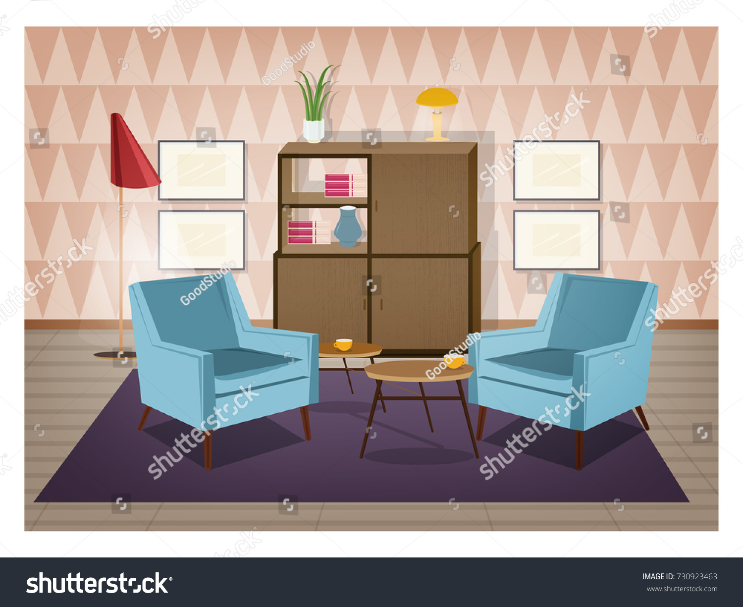 Interior Of Living Room Furnished In Retro Style. Old Fashioned Furniture  And Home Decorations   Part 54