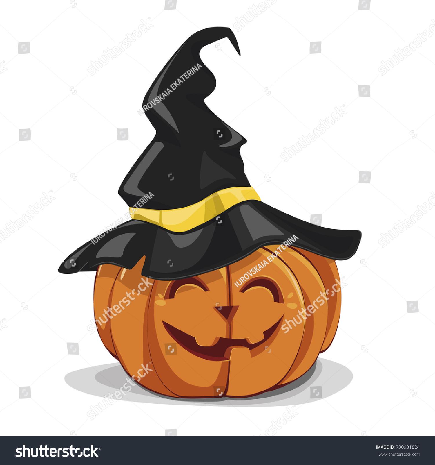 funny halloween pumpkin witches hat vector stock vector 730931824