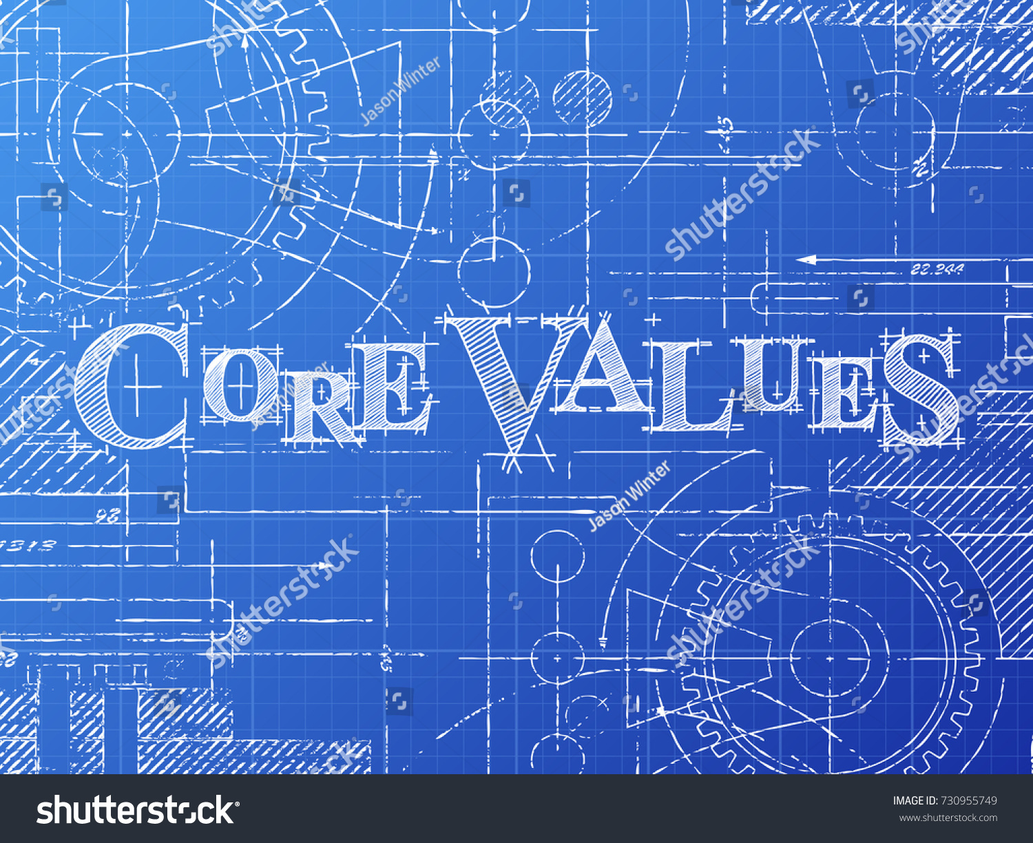 Core values text gear wheels hand stock vector 730955749 core values text with gear wheels hand drawn on blueprint technical drawing background malvernweather Image collections