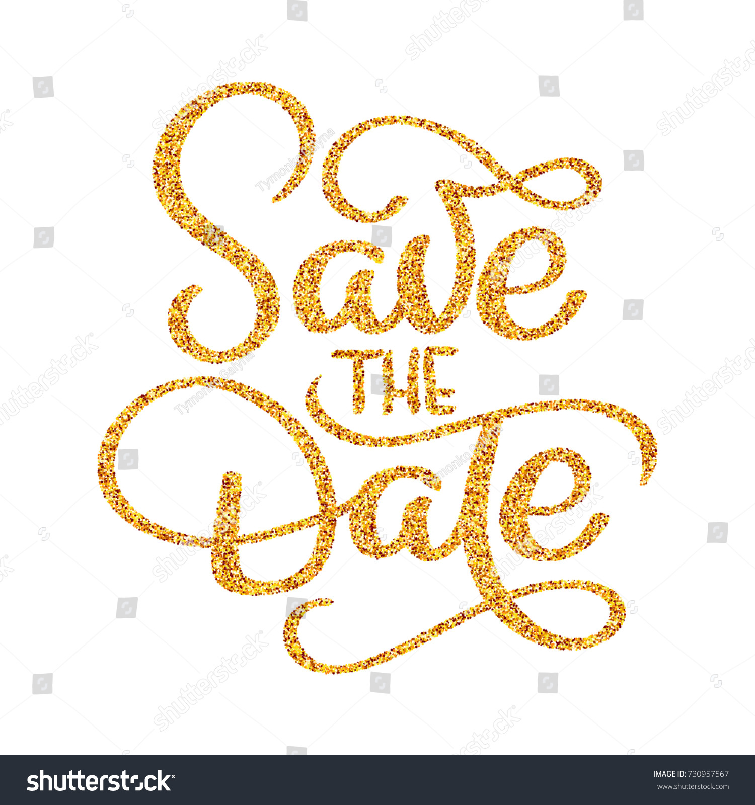 Wedding Save Date Calligraphy Lettering Golden Stock