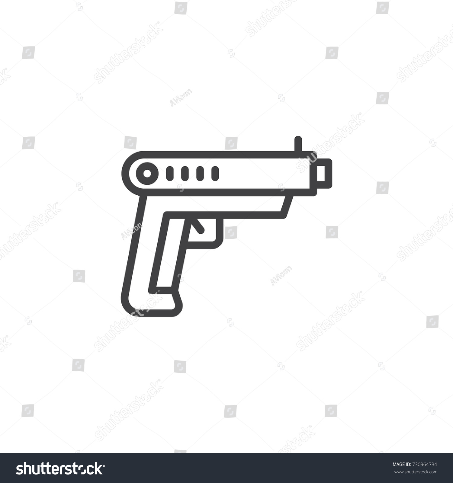 Gun line icon outline vector sign stock vector 730964734 gun line icon outline vector sign linear style pictogram isolated on white pistol biocorpaavc