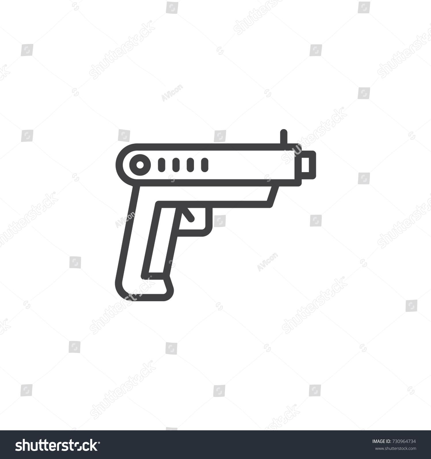 Gun line icon outline vector sign stock vector 730964734 gun line icon outline vector sign linear style pictogram isolated on white pistol buycottarizona