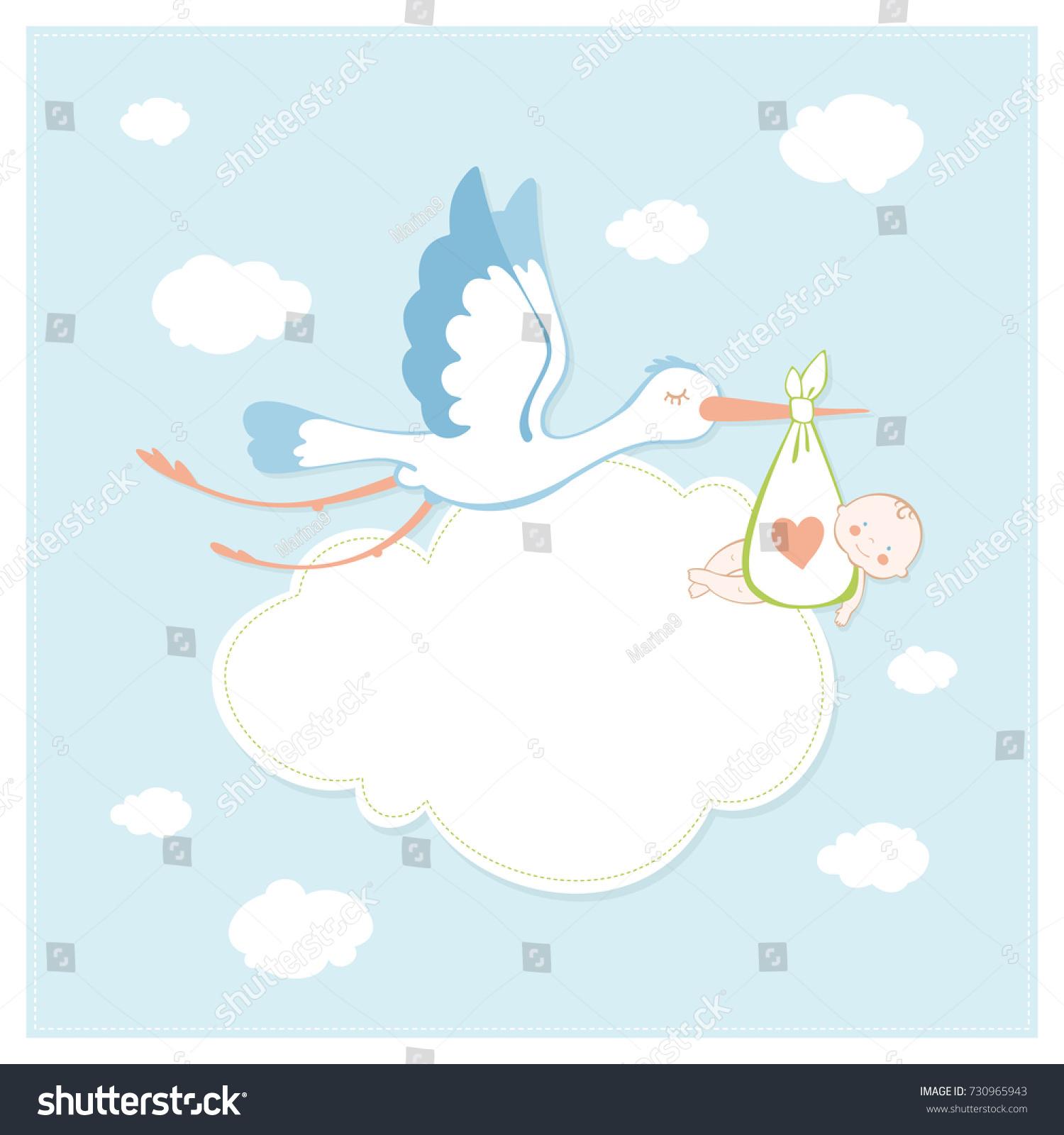Stork Baby Shower Invitation Card Vector Stock Vector HD (Royalty ...