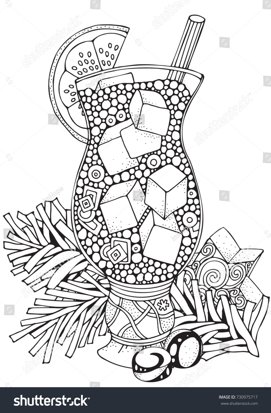 Glass Cup With Lemonade And Ice Pieces Adult Coloring Book Page A4 Size