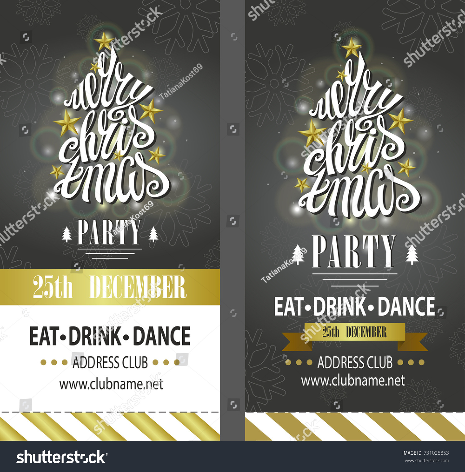 Christmas Party Ticket Template Free: Merry Christmas Party Invitationdesign Templateflyerticket