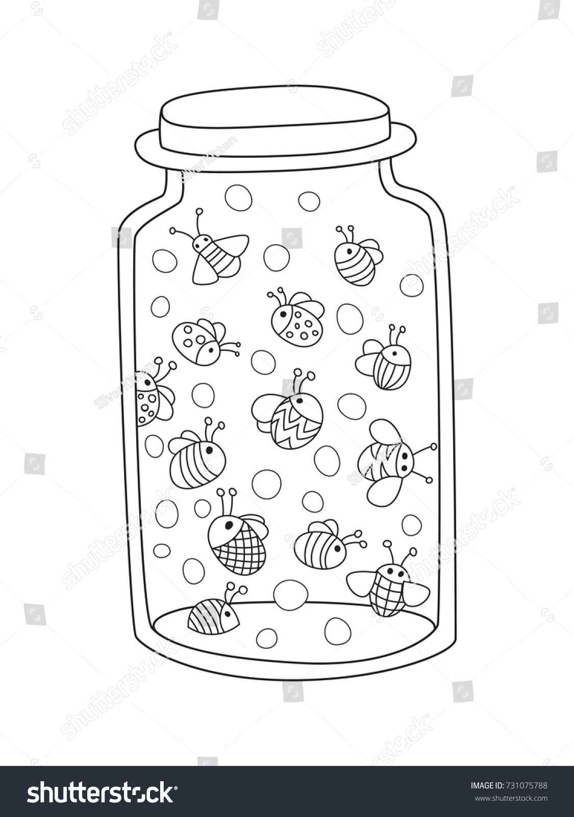Outlined Doodle Antistress Coloring Page Bottle Stock Vector ...