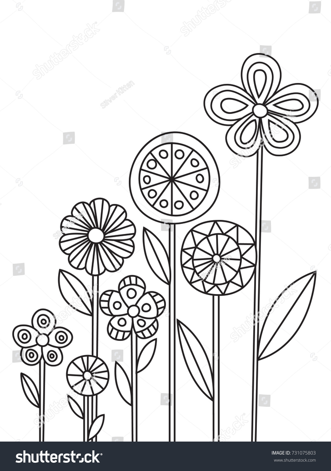 Outlined Doodle Antistress Coloring Page Flowers Stock Vector HD ...