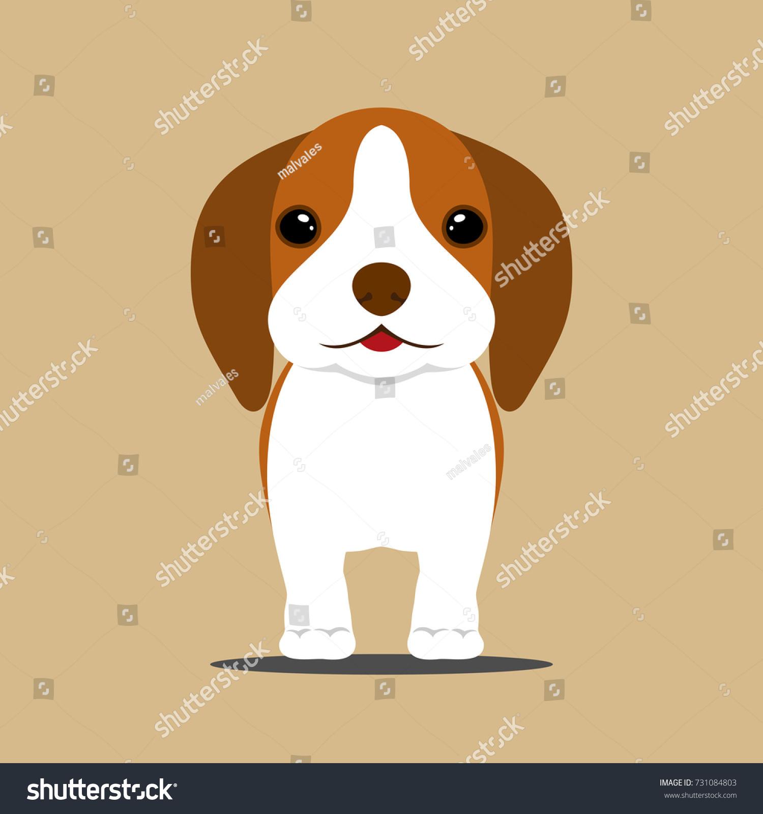 Vector De Stock Libre De Regalias Sobre Cute Young Brown Beagle Puppy Dog731084803