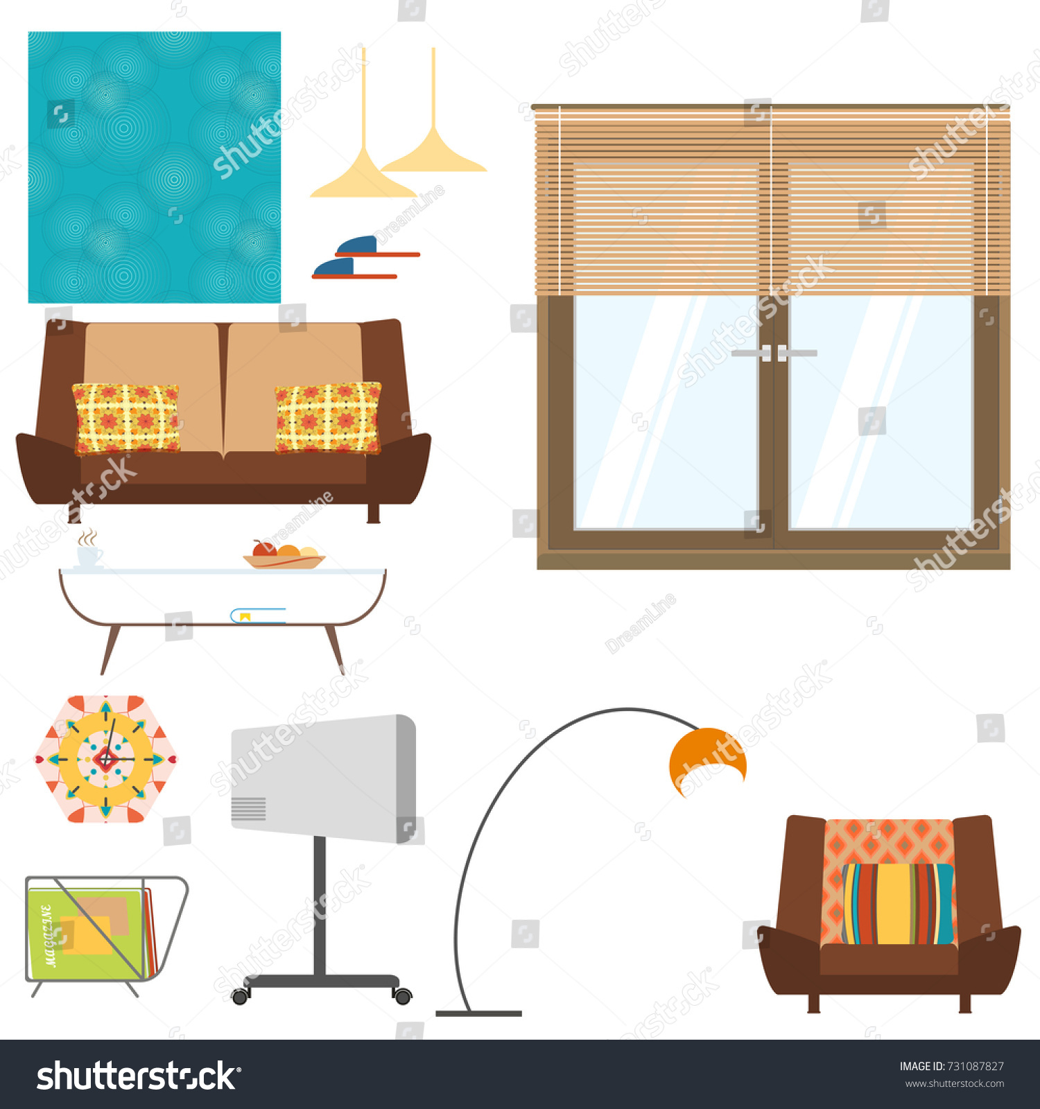 Living Room Interior Objects Set Sofa Stock Illustration 731087827 ...