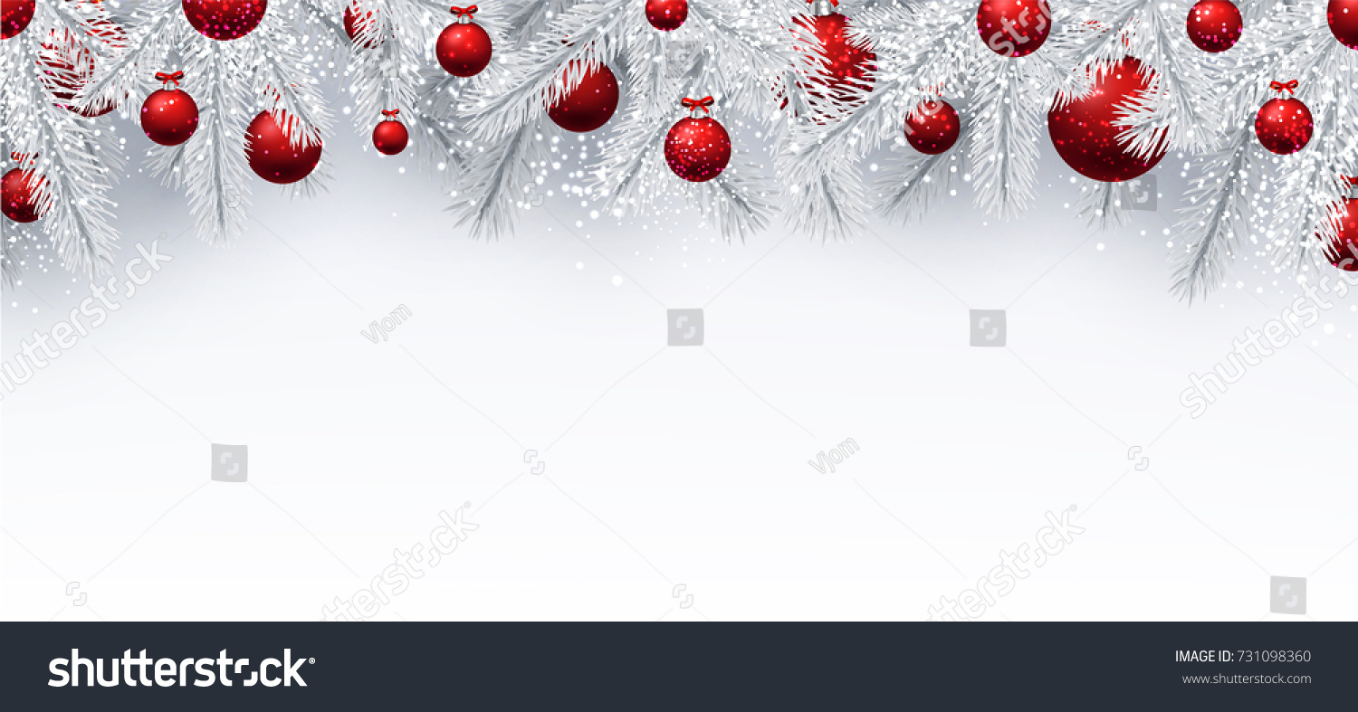 new year background with white spruce branches and red christmas balls vector illustration