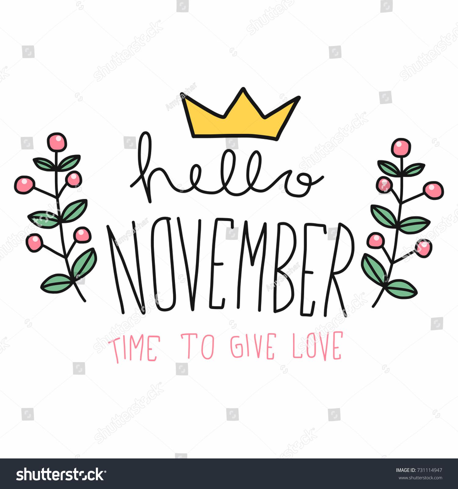 hello november word flower wreath cartoon のベクター画像素材