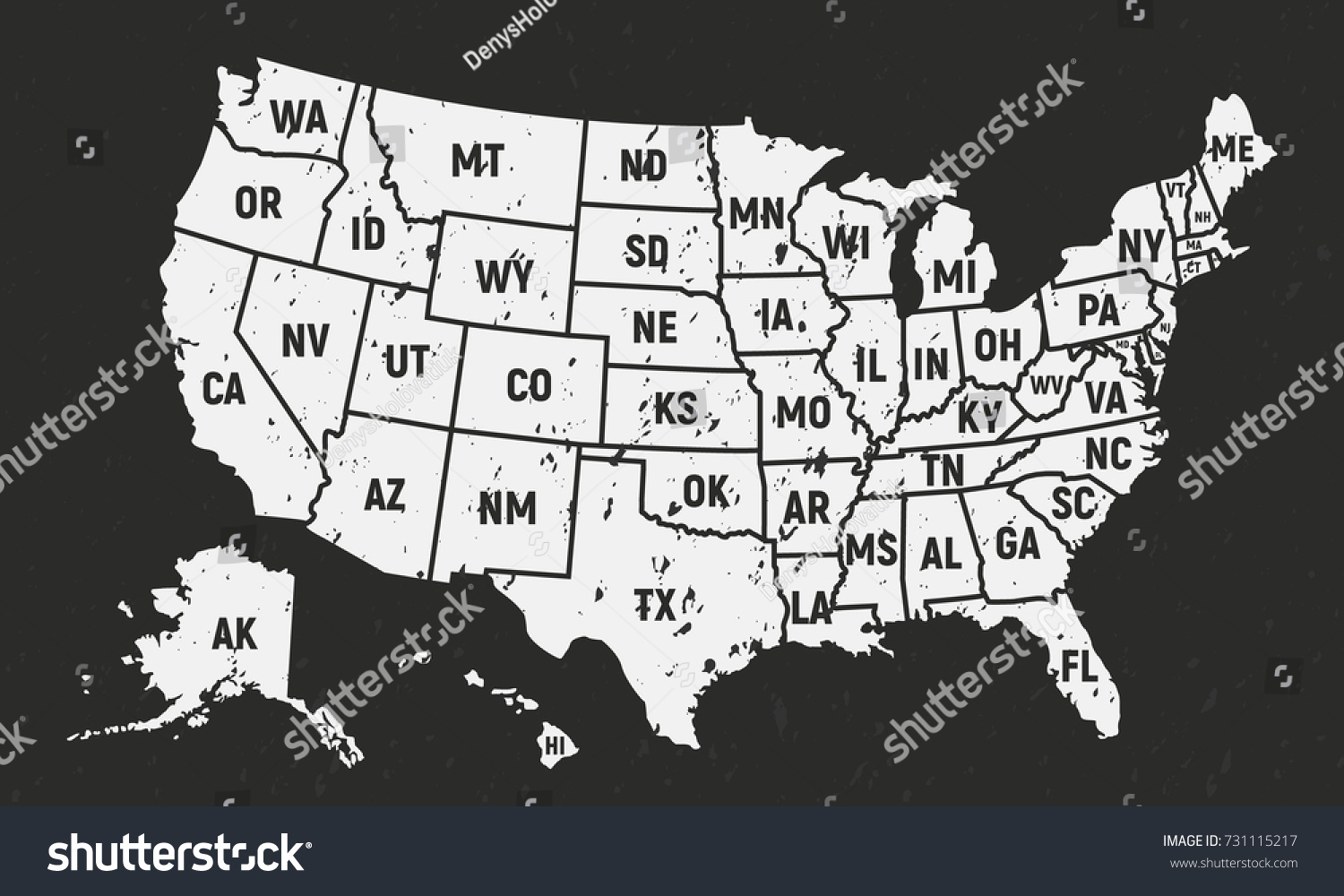 United States Map With State Names Black And White British People - Map of the usa with state names