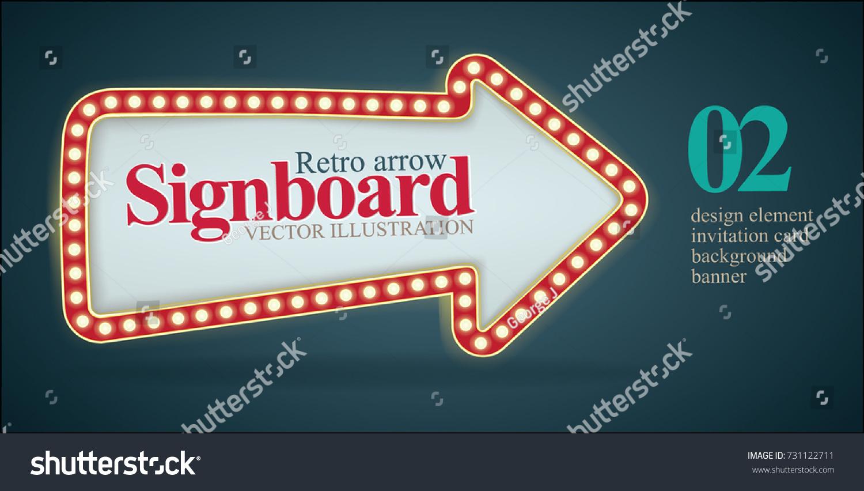 Retro Signboard Arrow Illustration Vintage Banner Stock Vector