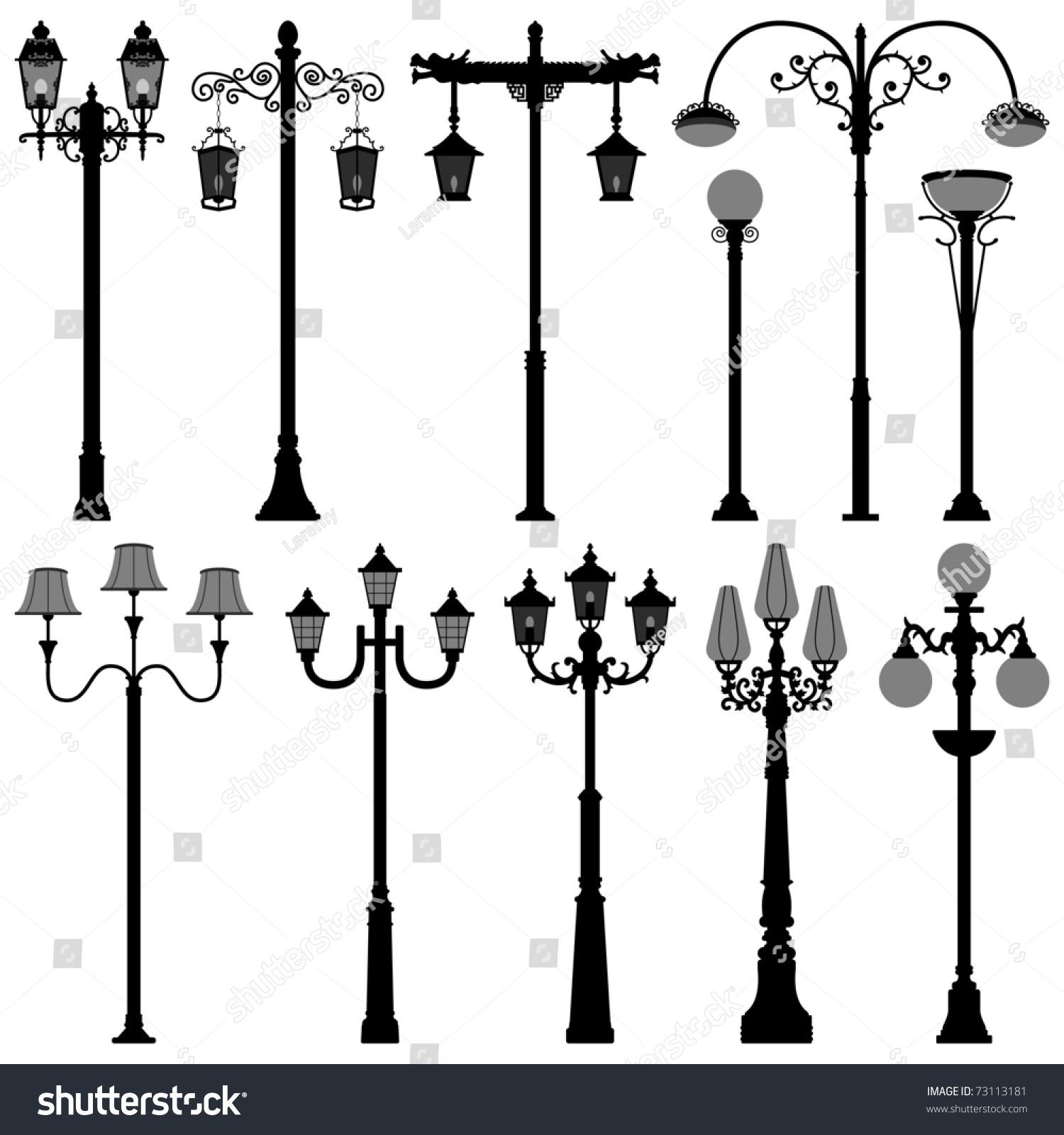 Light Pole Terminology: Lamp Post Lamppost Street Road Light Stock Vector 73113181