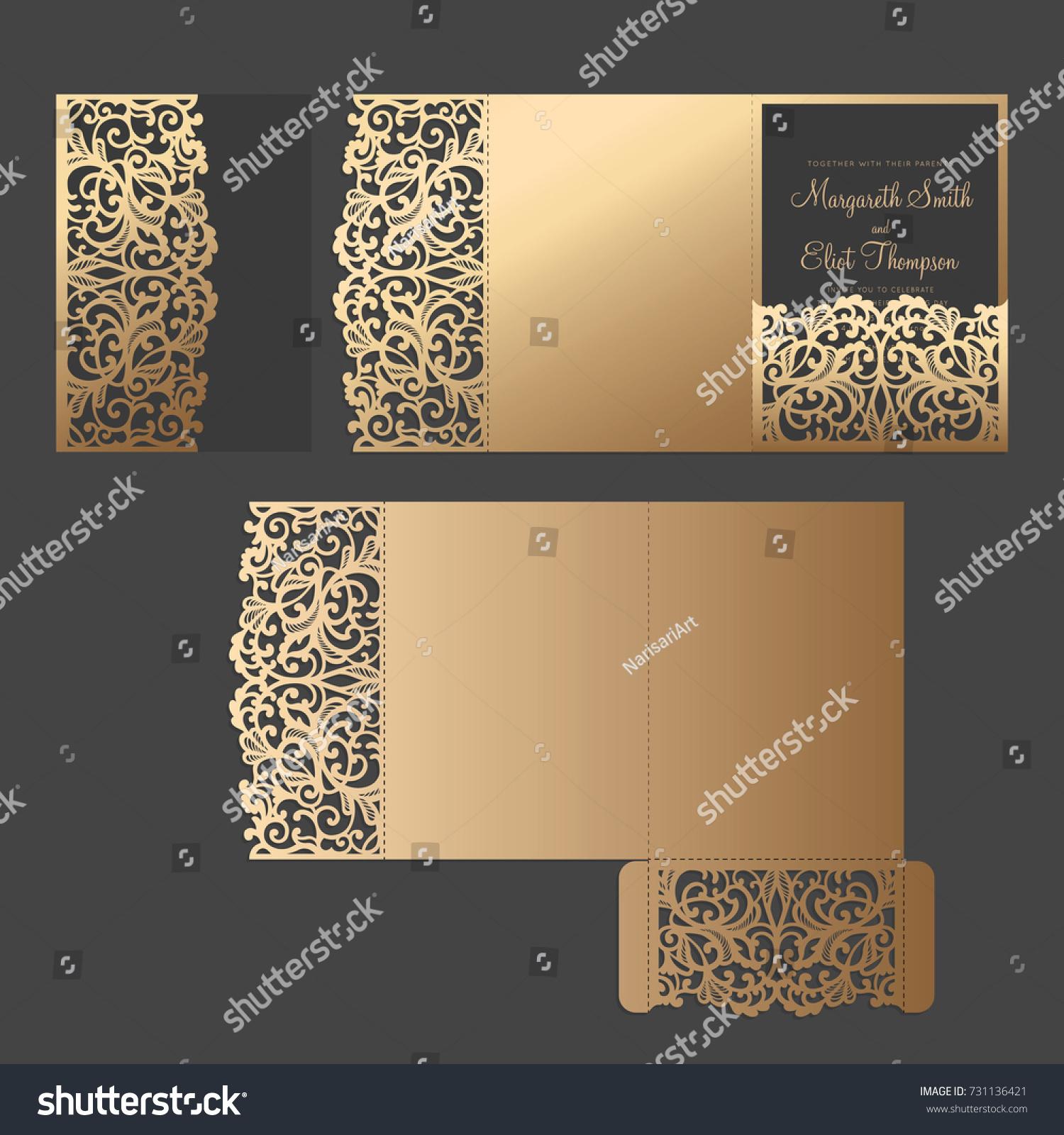 graceful tri fold pocket envelope temlate delicate のベクター画像