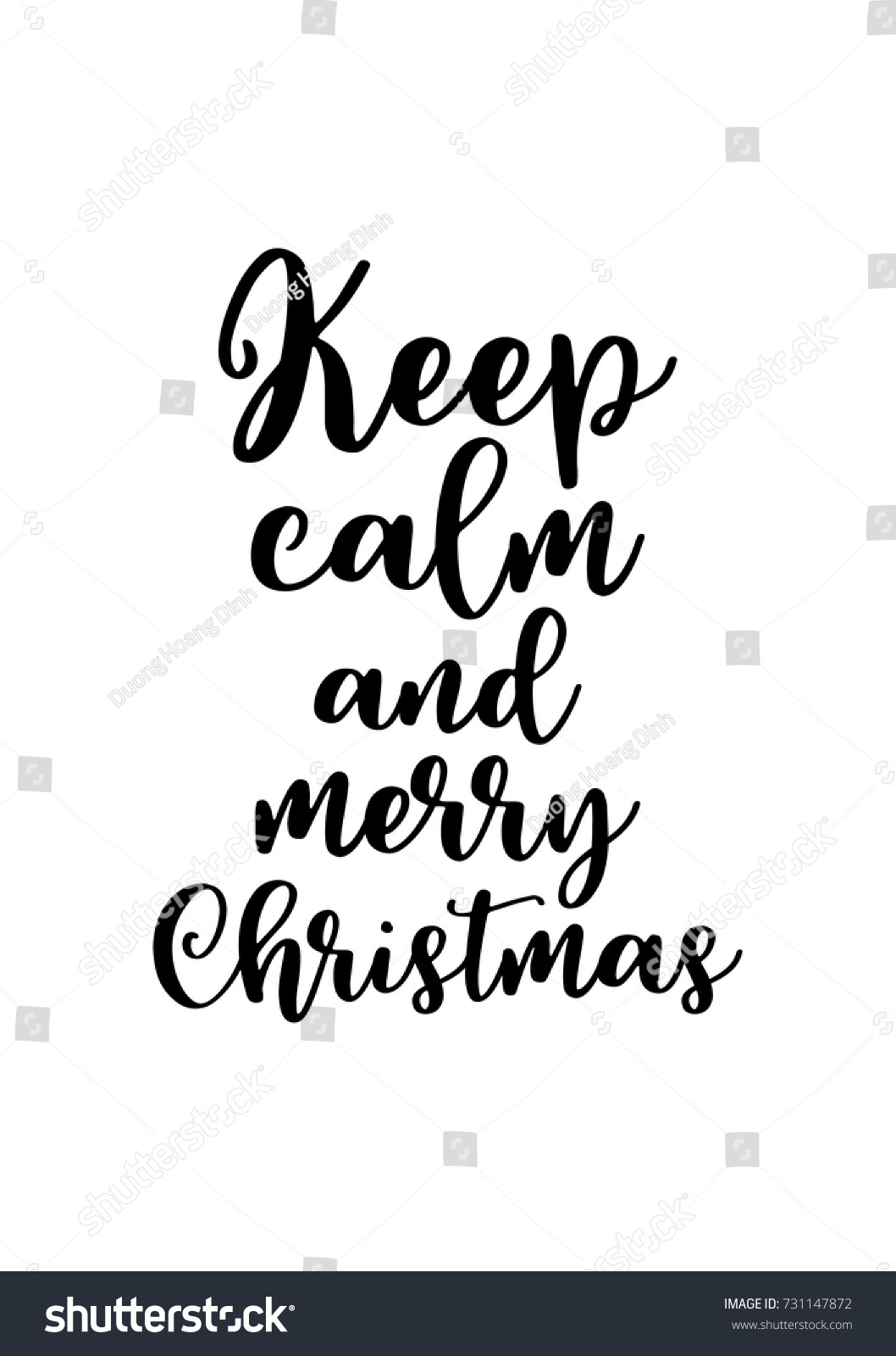 Isolated Calligraphy On White Background. Quote About Winter And Christmas. Keep  Calm And Merry