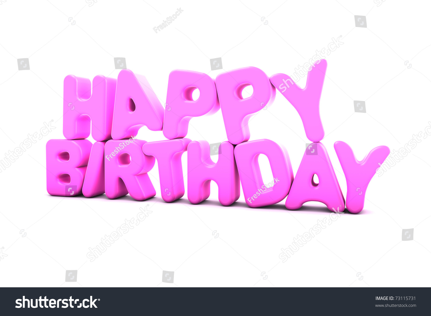 3d Happy Birthday Text Stock Illustration 73115731