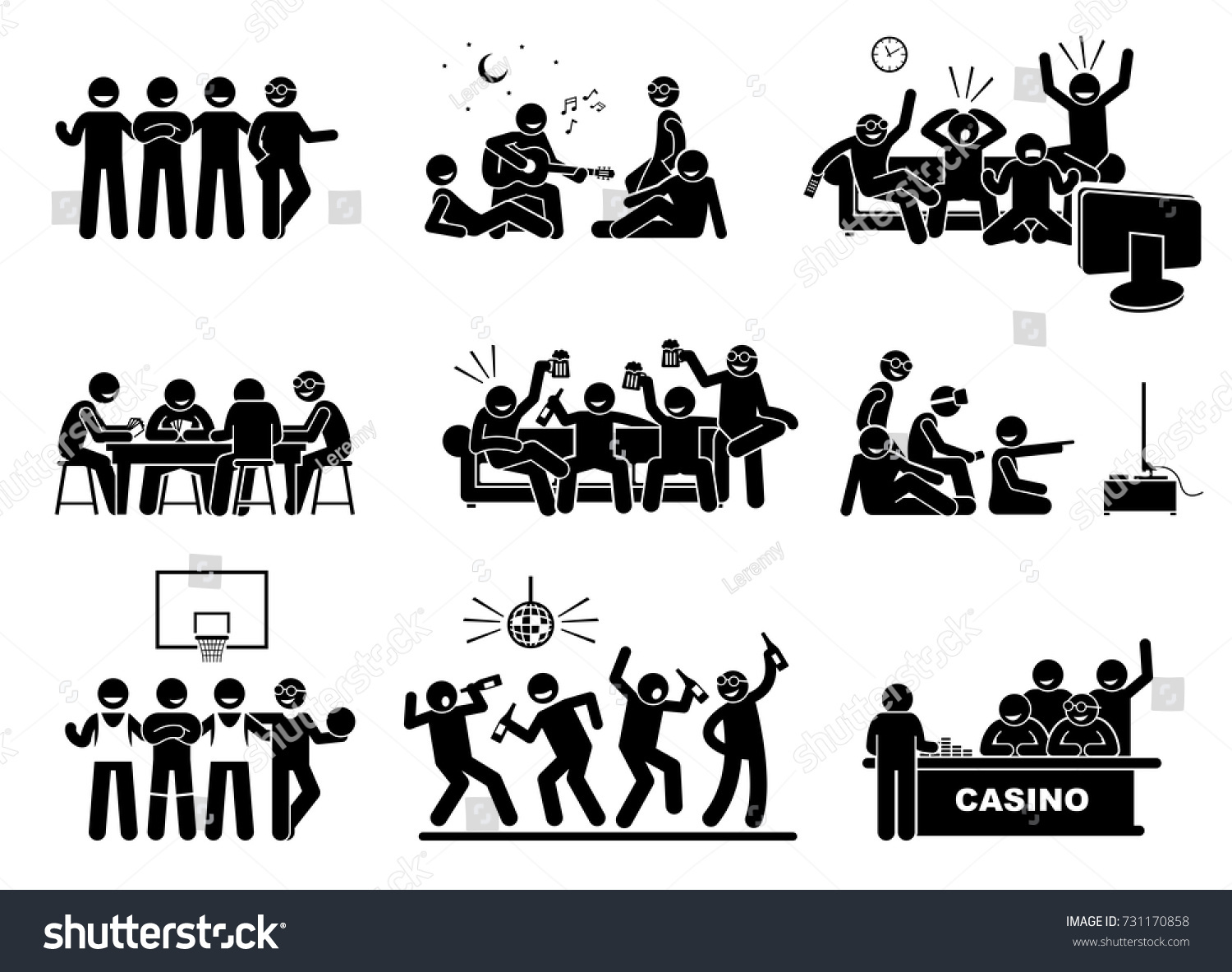 Men hanging out group best friends stock vector 731170858 for Hanging groups of pictures