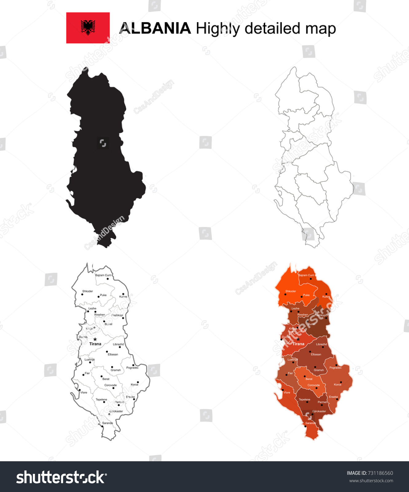 Albania Isolated Vector Highly Detailed Political Stock Vector - Political map of albania