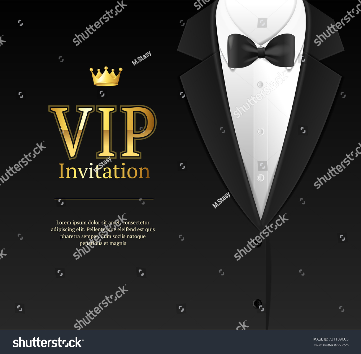 Vip Invitation With Bow Tie Template Card Banner For Ceremony, Party Luxury  Style. Vector