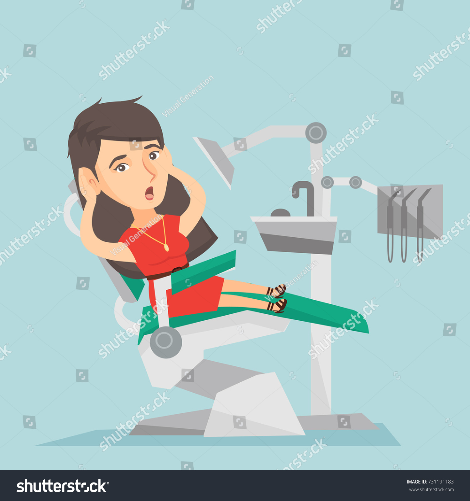Frightened Caucasian Patient Sitting Dental Chair Stock Vector
