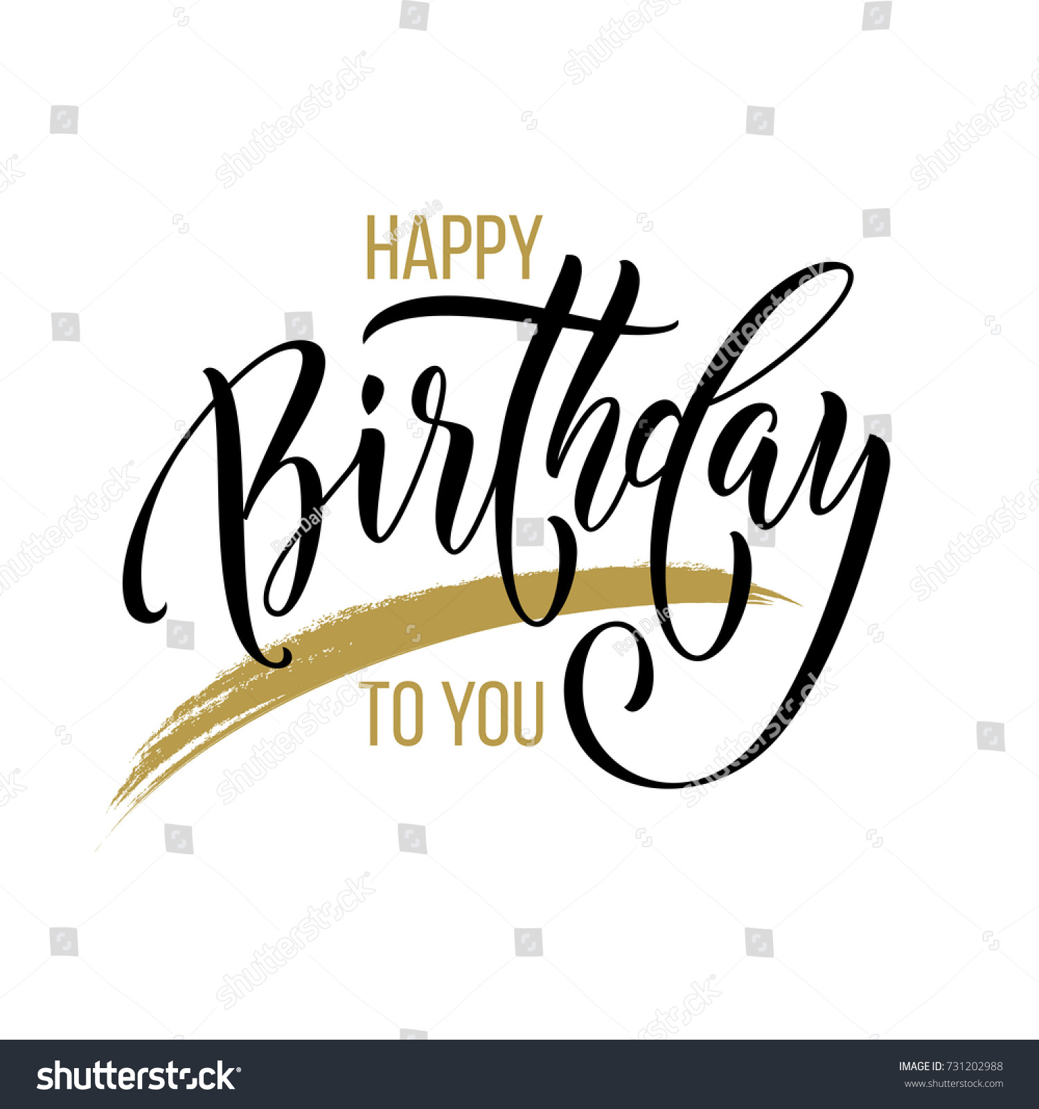 Happy Birthday You Calligraphy Greeting Card Stock Vector 731202988 - Shutterstock