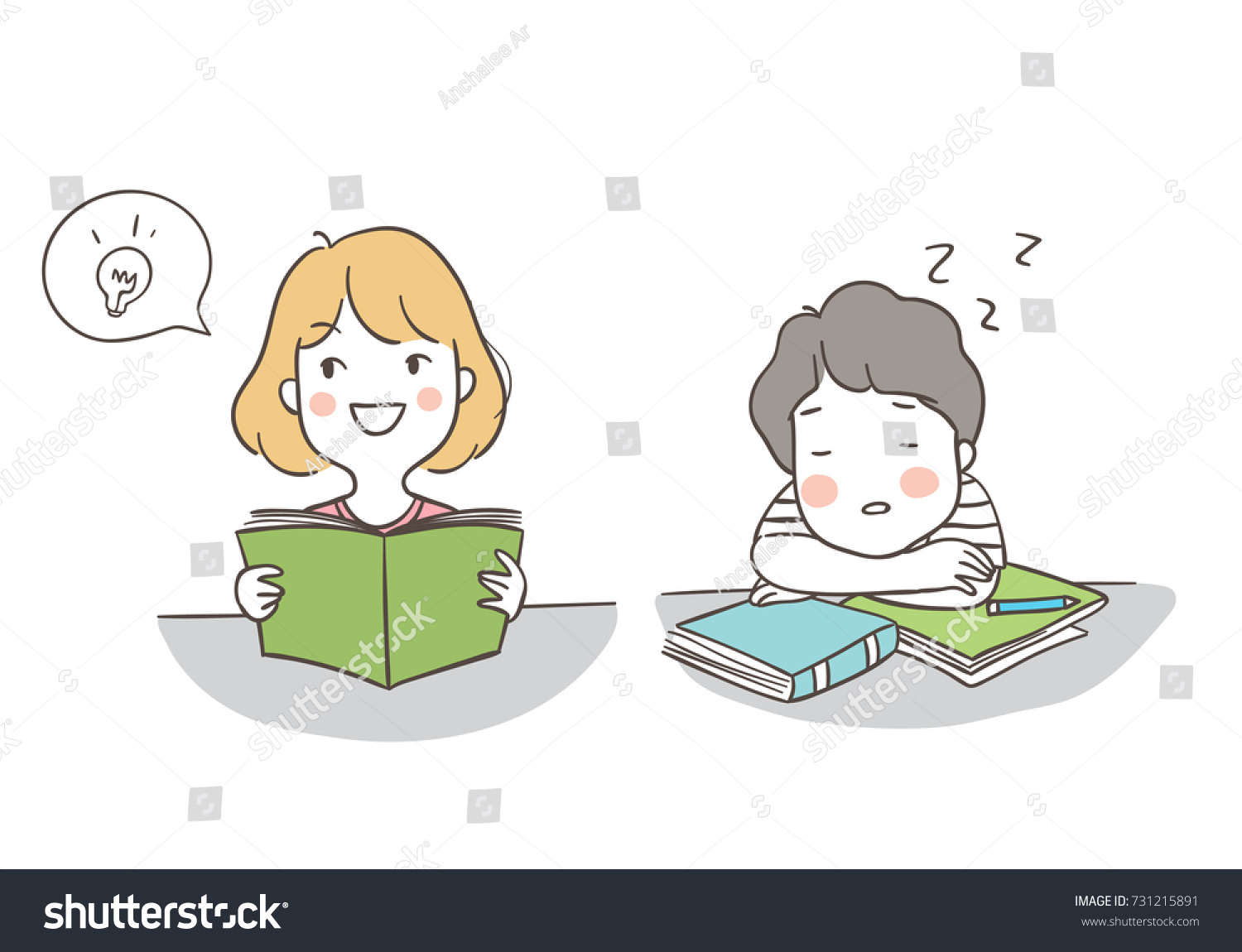 Draw vector illustration character design different pose a boy sleeping and a girl has a good