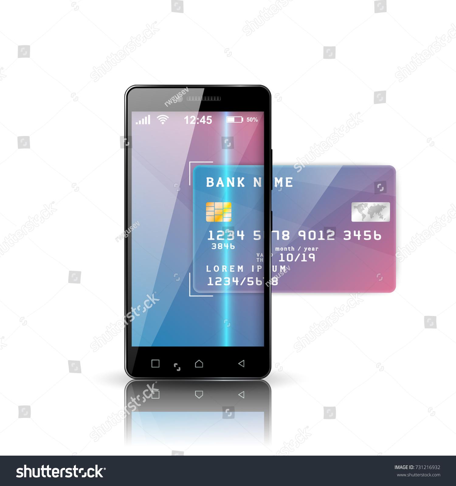 Mobile Bank Illustration Smartphone Business Card Stock Vector ...