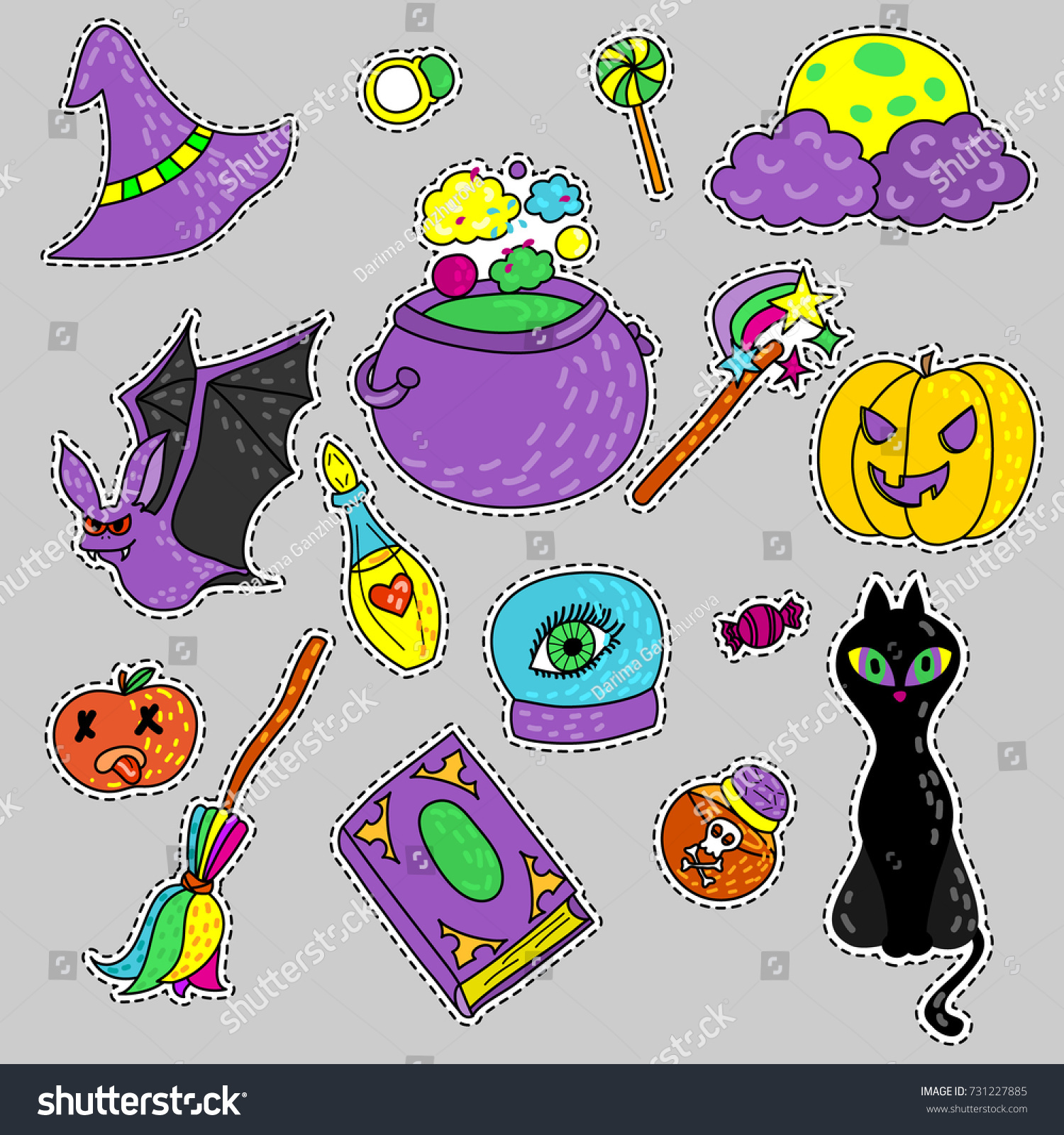 Magic Cartoon Set Witches Set Icons Stock Vector 731227885