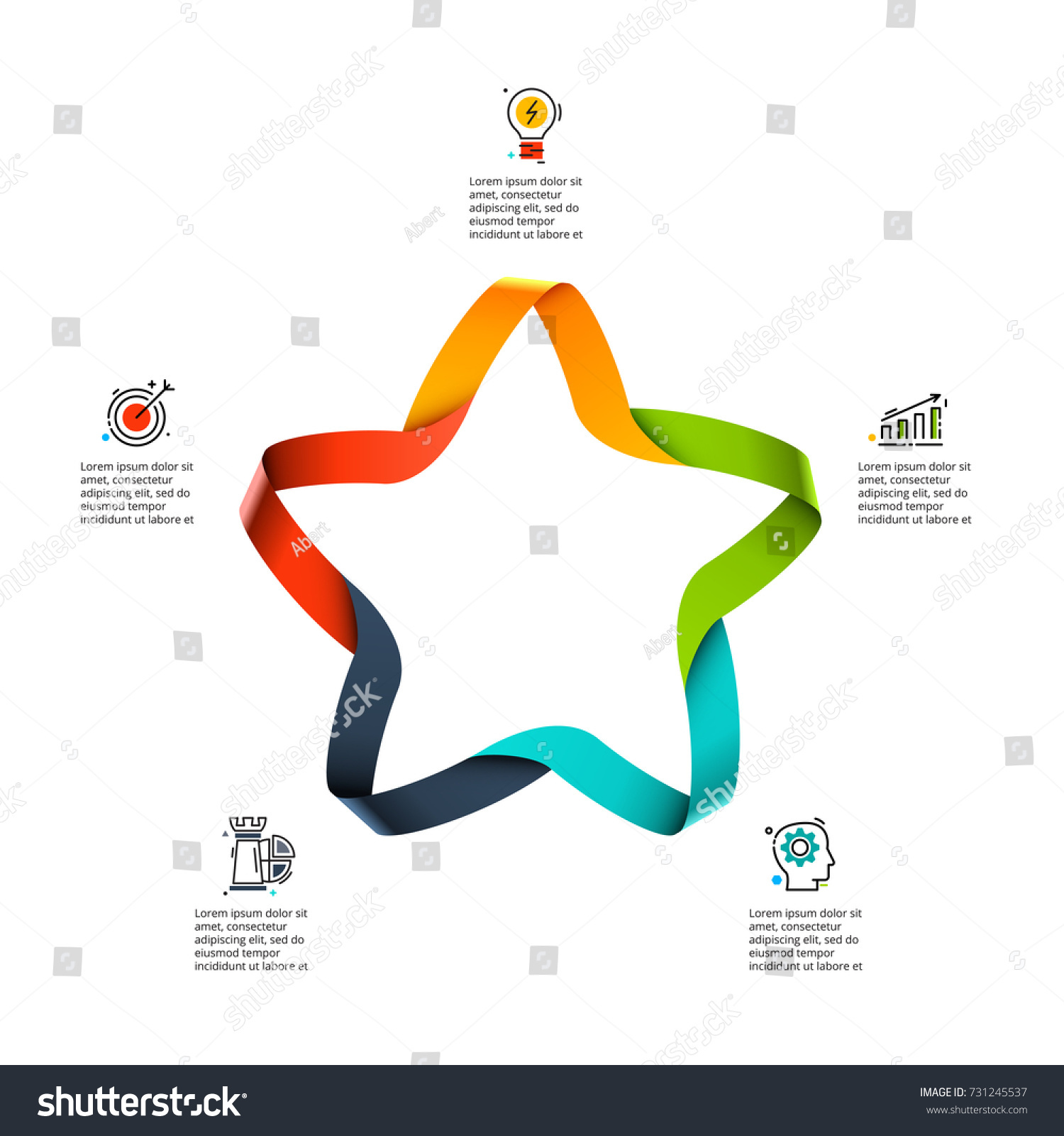 Vector Star Infographic Cycle Diagram Graph Stock Royalty Template And Presentation Chart Business With 5