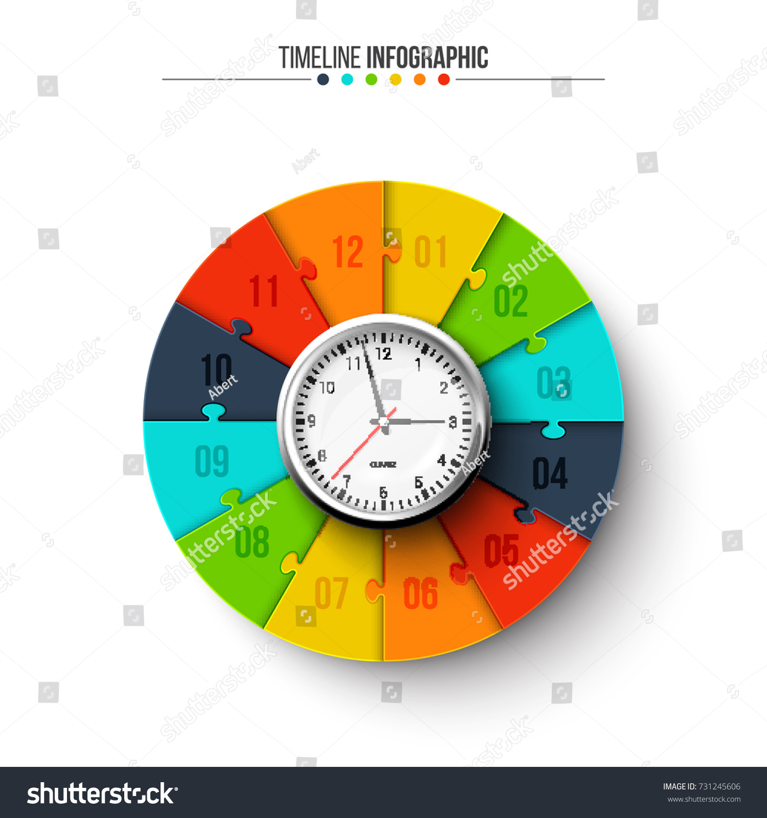 Vector Clock Circle Puzzle Infographic Template Stock Vector