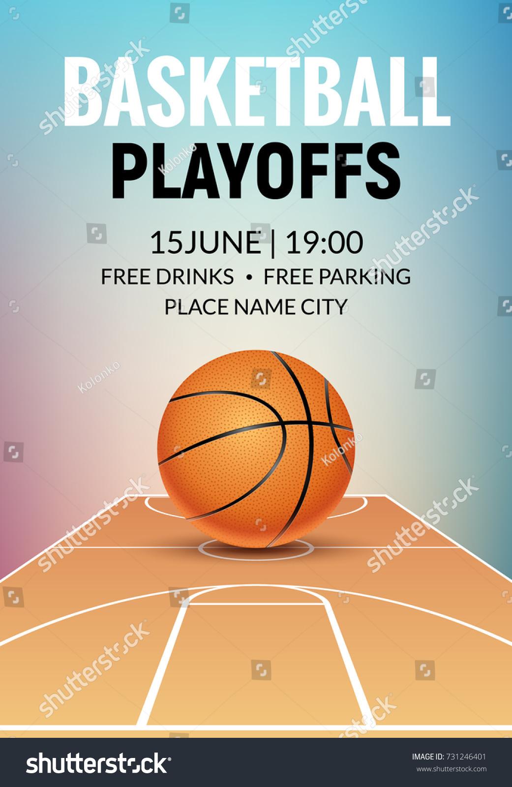 Basketball Vector Poster Game Tournament. Realistic Basketball Flyer Design.
