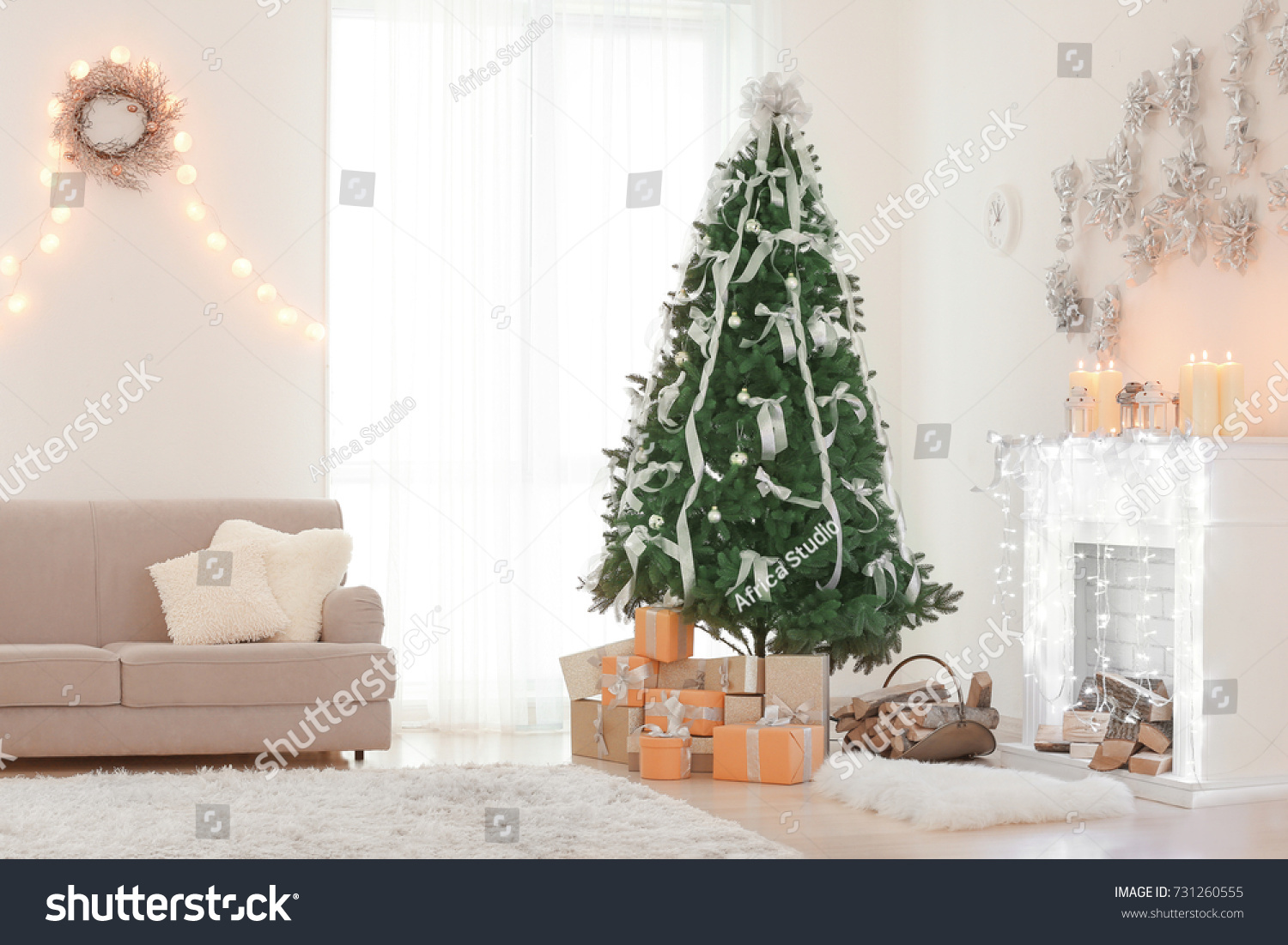 Interior Beautiful Room Christmas Decorations Stock Photo (100 ...