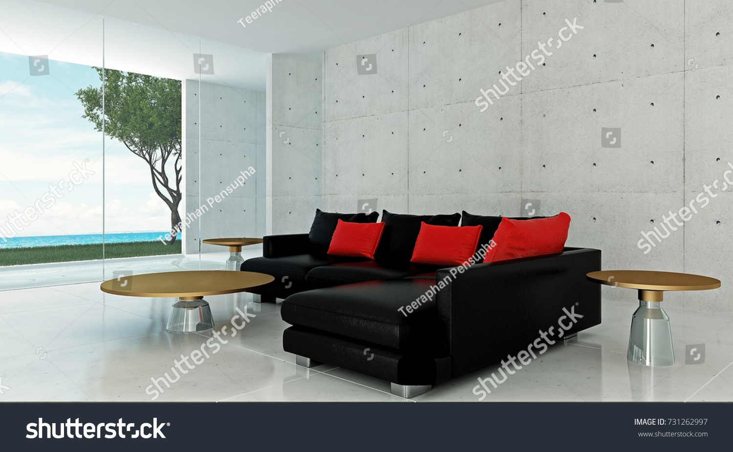 The Interior Design Of Lounge And Living Room And Concrete Wall Texture  Background / 3D Rendering