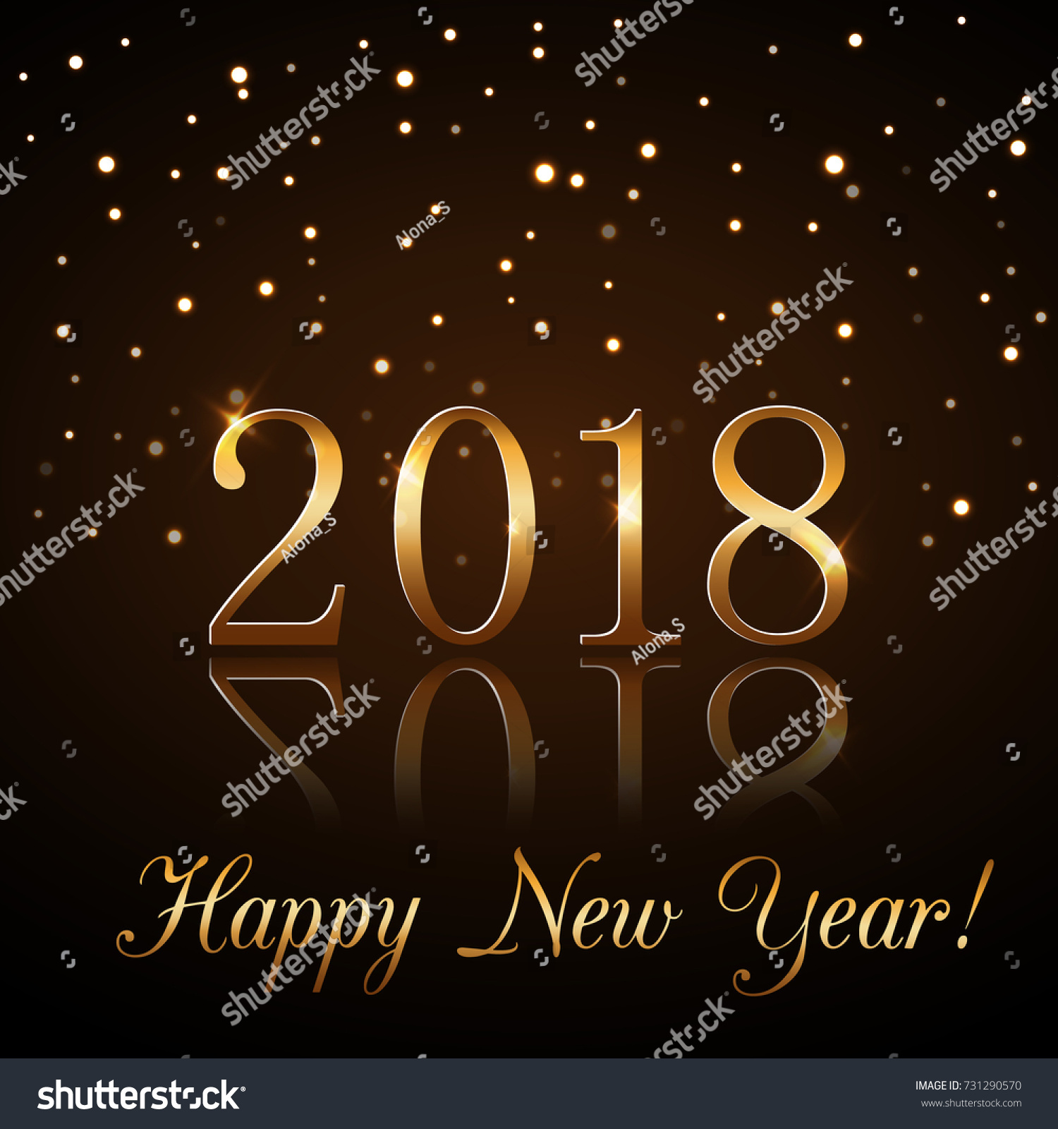 happy new year background with magic gold rain golden numbers 2018 christmas design light