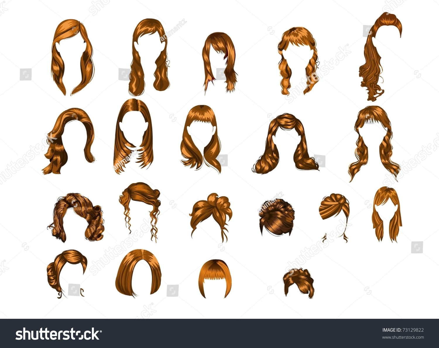 Different Type Hair Style Stock Illustration 73129822