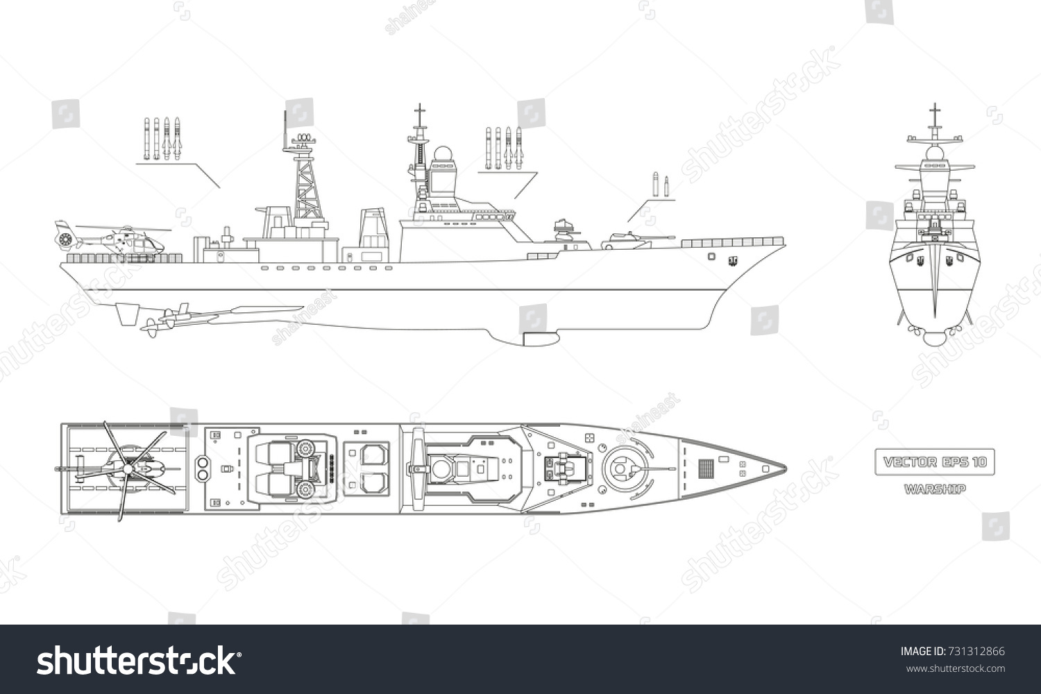 Blueprint military ship top front side stock vector 731312866 blueprint of military ship top front and side view battleship model industrial malvernweather Gallery